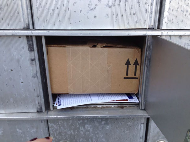 The Mailman Delivers Things In The Back Of The Mailbox Through A Large Locking Door. I Have A Smaller Door In Front Than The Box. Now What?