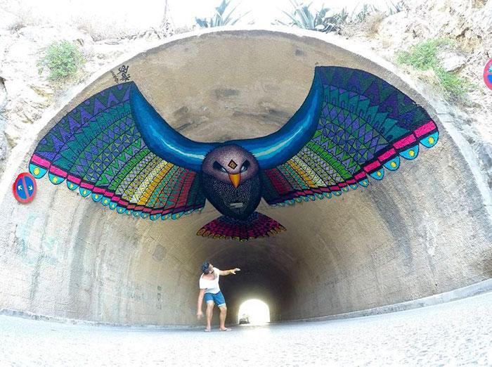 flying-eagle-mural-bloop-festival-street-art-spaik-spain-2