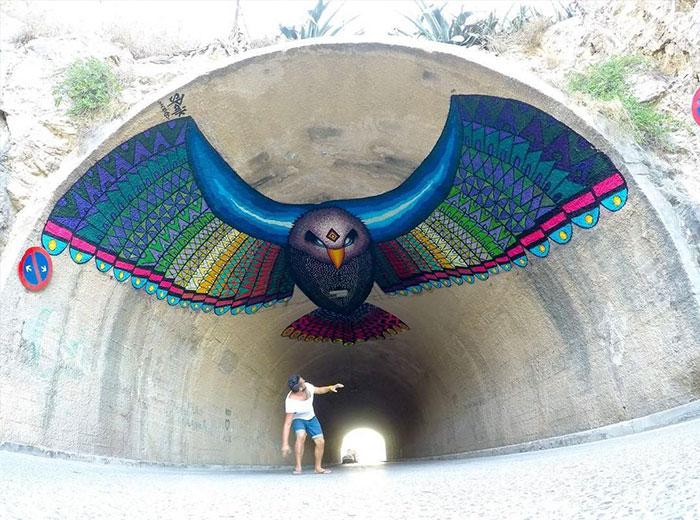 Flying Eagle Mural In Spain By Spaik