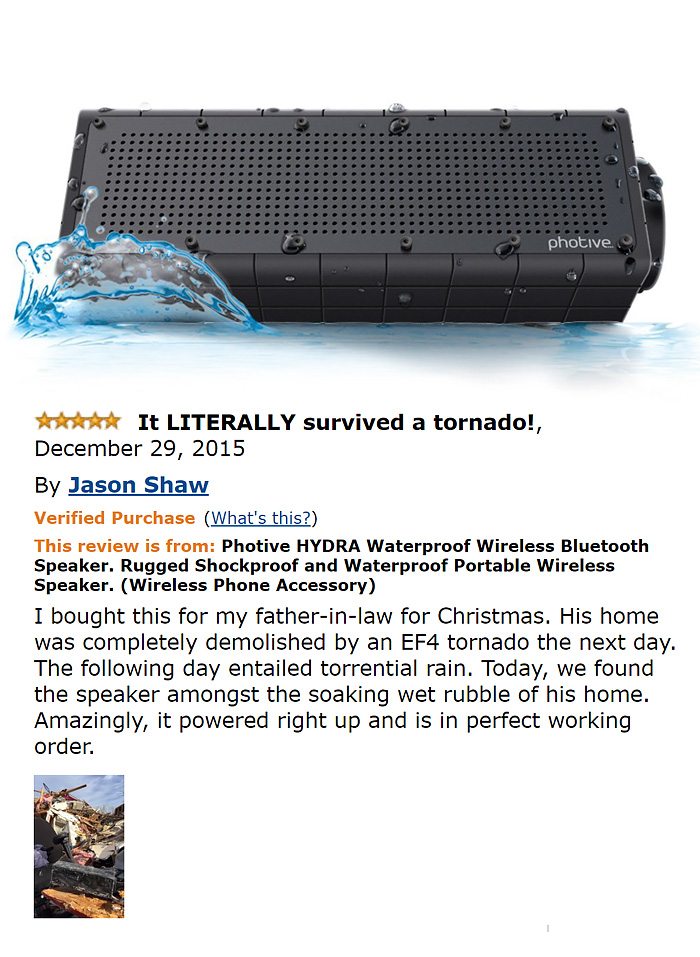 Photive Hydra Waterproof Wireless Bluetooth Speaker