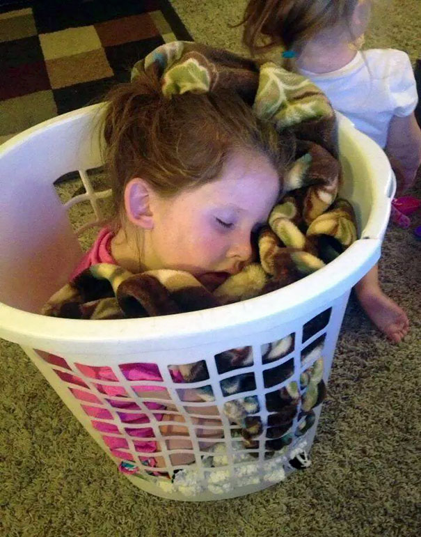 Napping In A Laundry Basket