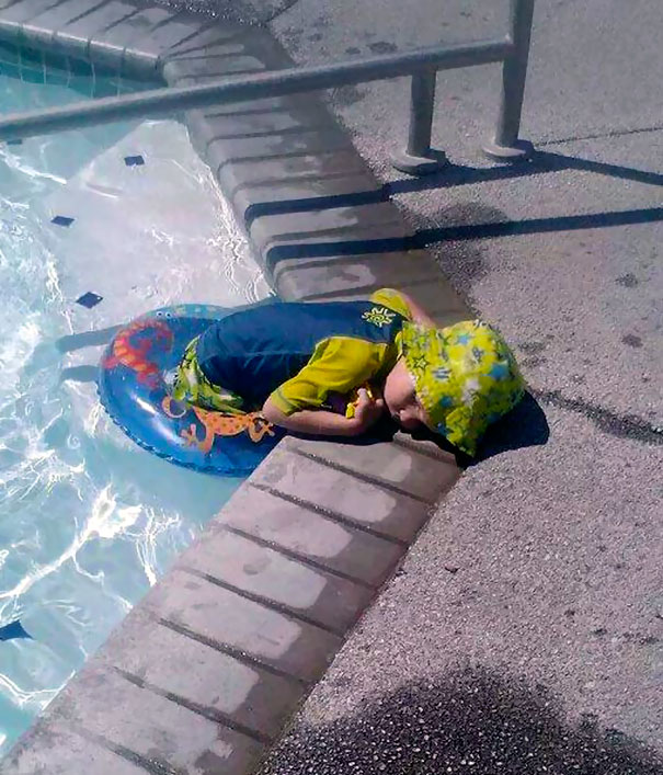 Napping On The Way Out Of Pool