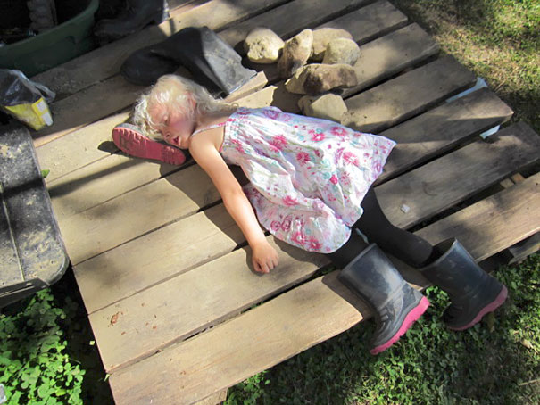 Napping On A A Rubber Boot