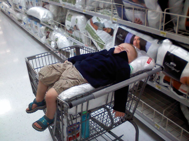 Napping In A Shopping Cart