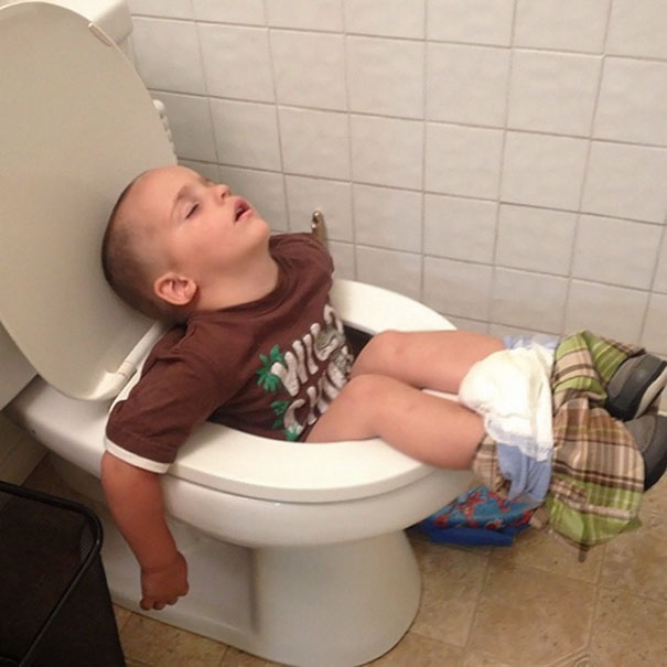 Napping On The Toilet