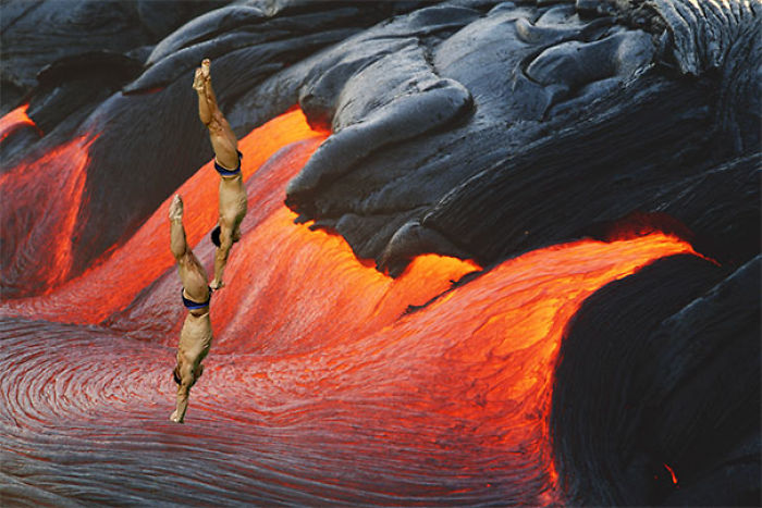Olympics Athletes Dive In To The Volcano Lava