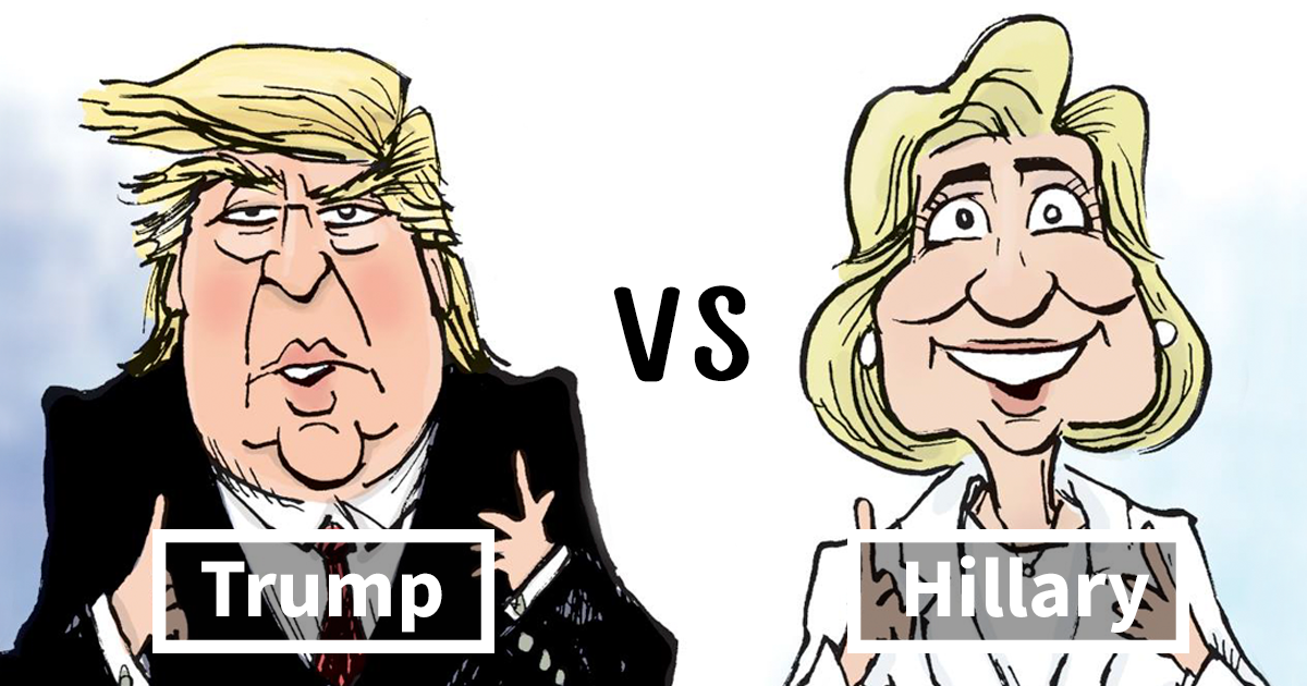 Image result for CLINTON AND TRUMP CARTOONS