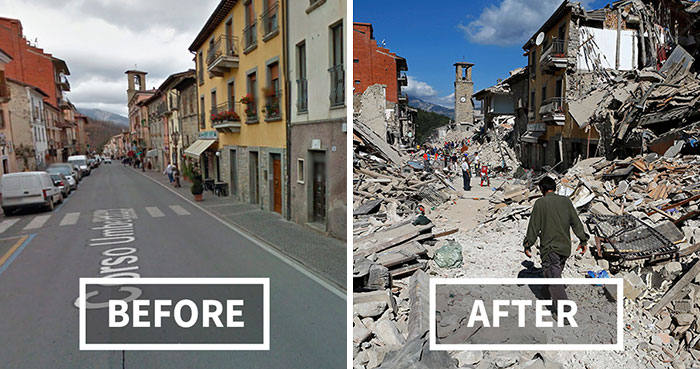 33 Before and After Italian Earthquake: Heartbreaking Photos Show Destroyed Towns In Italy