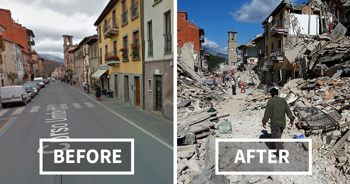 15 before and after italian earthquake heartbreaking photos show
