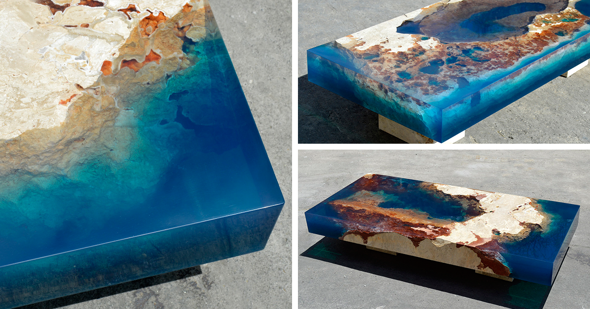 Ocean coffee tables that i made by merging natural stone for Muebles de jardin de resina de equilibrio