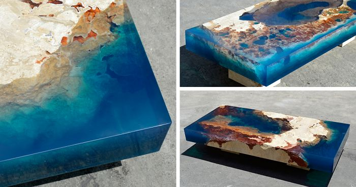 ocean coffee tables that i mademerging natural stone and resin