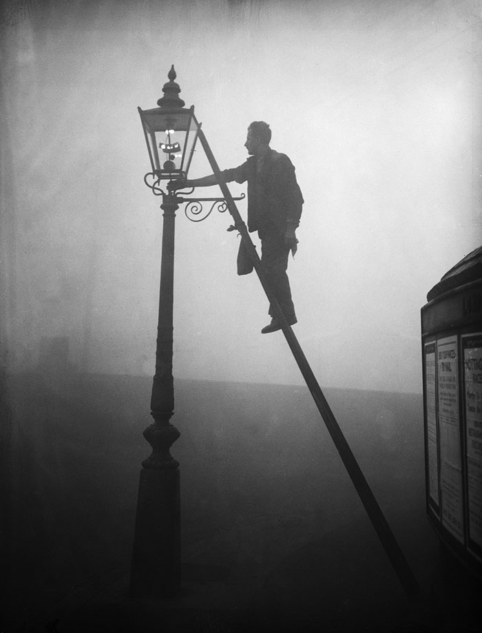 A Lamp Lighter At Work In Finsbury Park, London, 17 October 1935