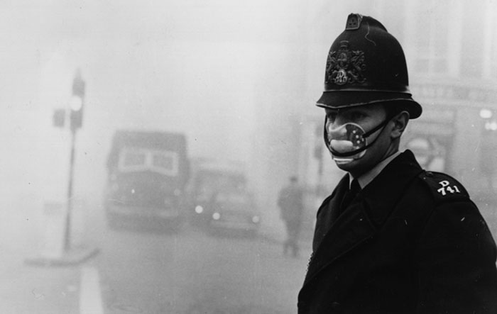 A Policeman Wears A Mask For Protection Against The Smog, 1962