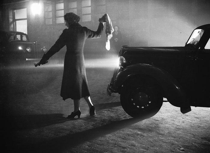 A Woman Leads A Car Through London's Regent's Park, 25 October 1938
