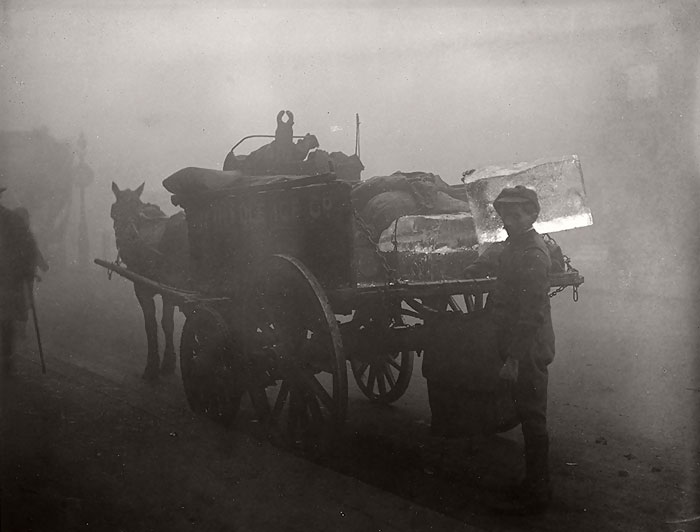 An Iceman Delivers In The Fog, 1 October 1919