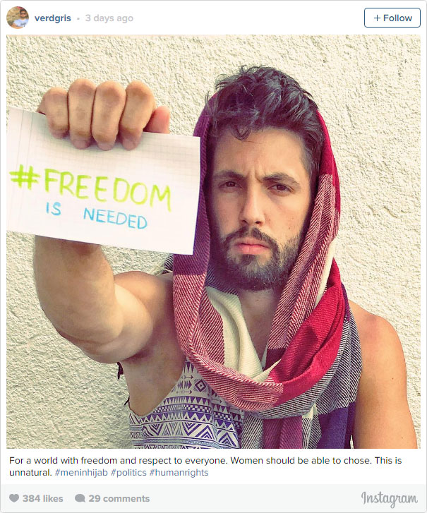 Iranian Men Wear Hijab To Fight For Women's Rights In Iran