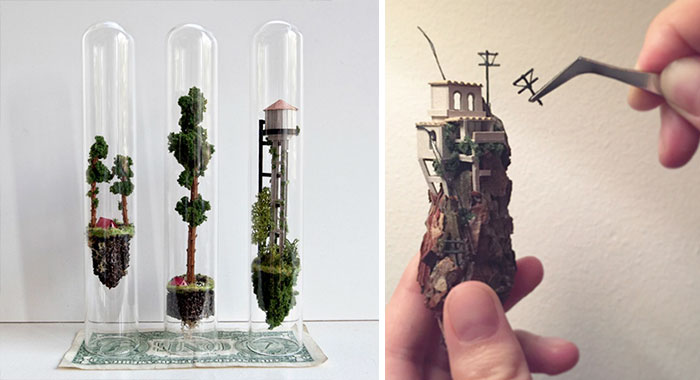 Artist Creates Incredibly Tiny Floating Worlds Inside Glass Test Tubes