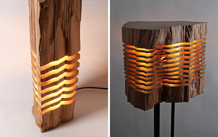 Sliced Lamps Made From Real Firewood Show The Beauty Of Simple Things