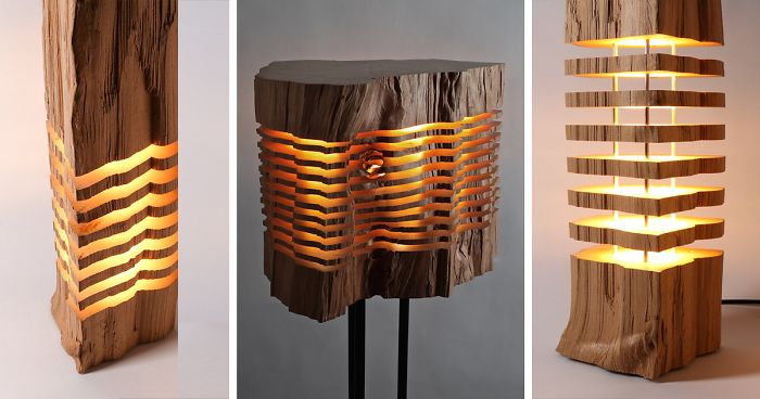 Sliced Lamps Made From Real Firewood Show The Beauty Of ...