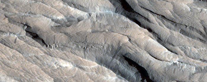 Yardangs South Of Olympus Mons