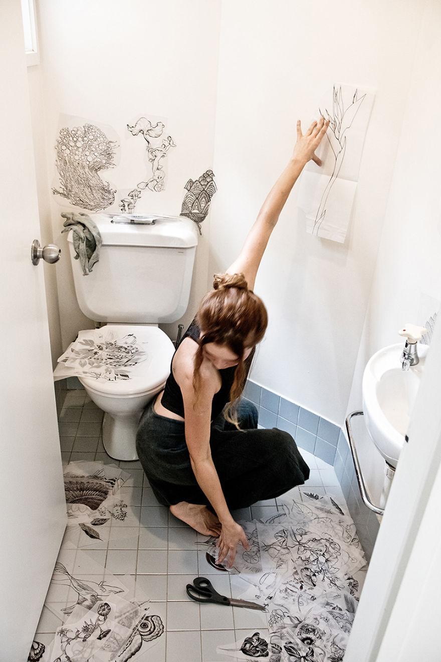 Рисунок в туалете своими руками фото
