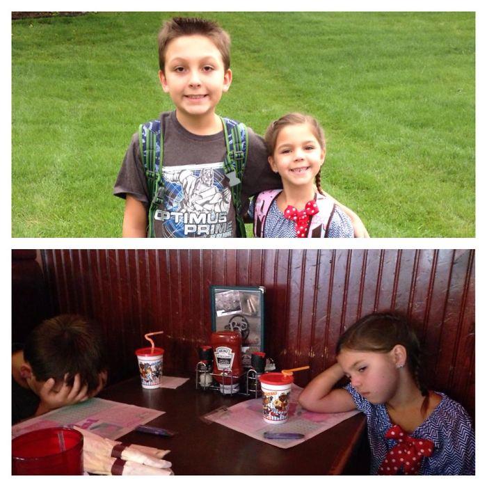 Веселі фотографії дітей до і після їх першого дня в школі - 5