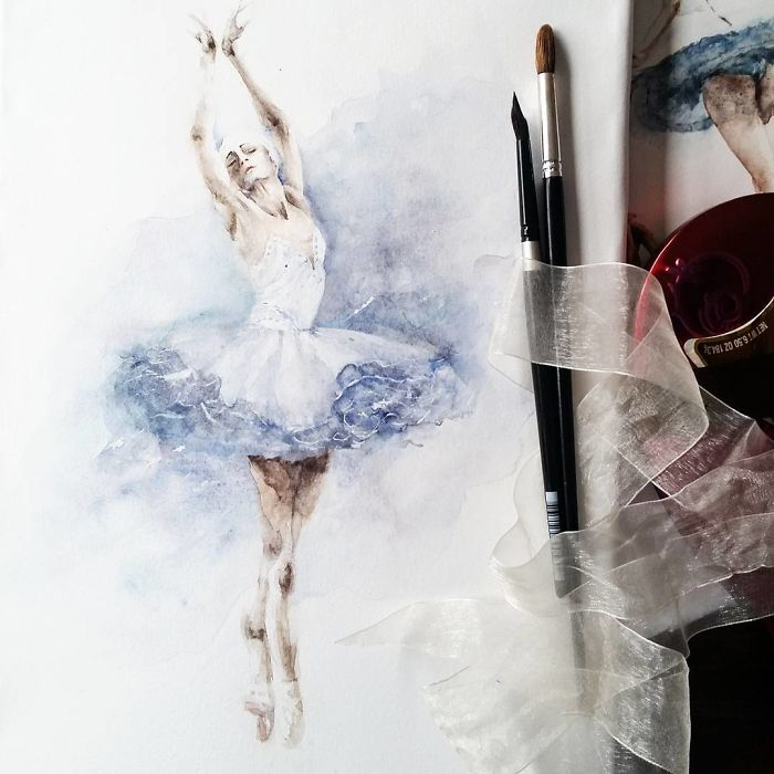 Watercolor Ballerinas By Yulia She