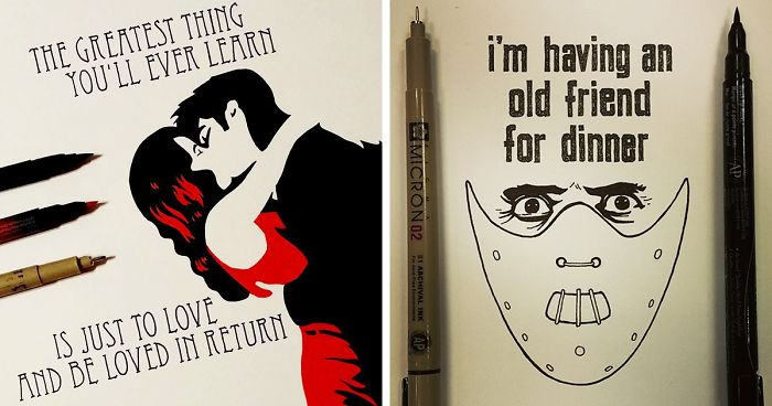 Artist Spends 365 Days Hand Drawing 365 Movie Quotes Bored Panda