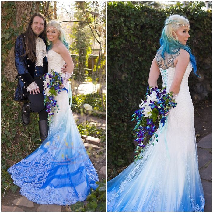 Colorful Wedding Dresses: Dip Dye Wedding Dress Trend Will Make Your Big Day More