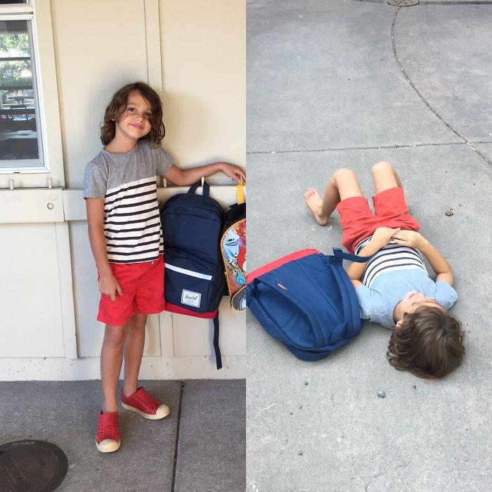 Веселі фотографії дітей до і після їх першого дня в школі - 7