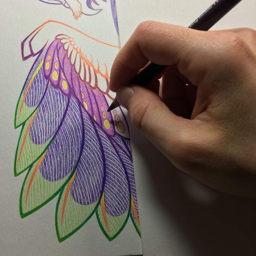 I Spent 32 Hours Creating A Colored Pencil Barn Owl Dragon