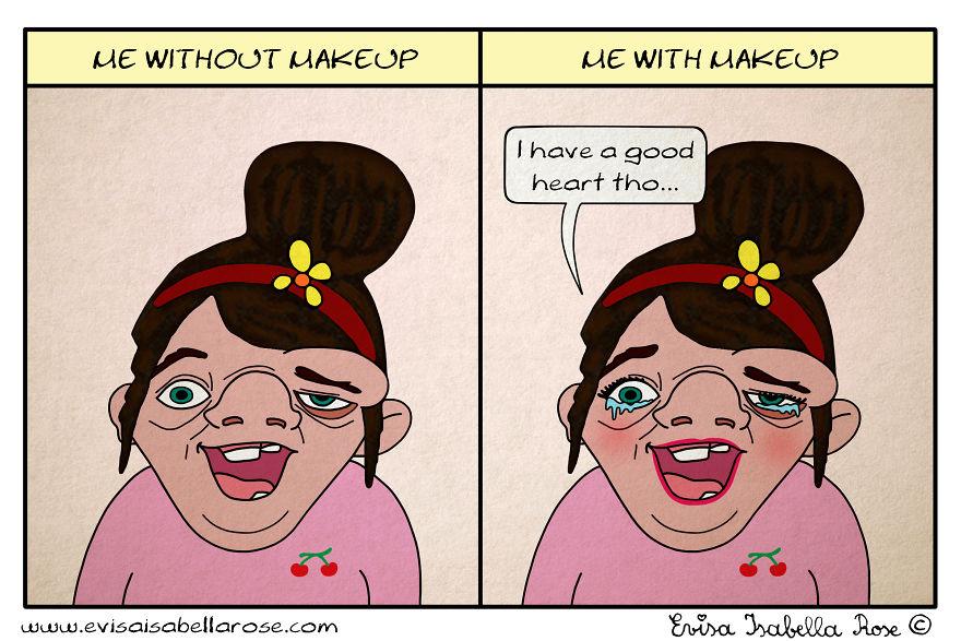 Me Without Makeup Vs Me With Makeup