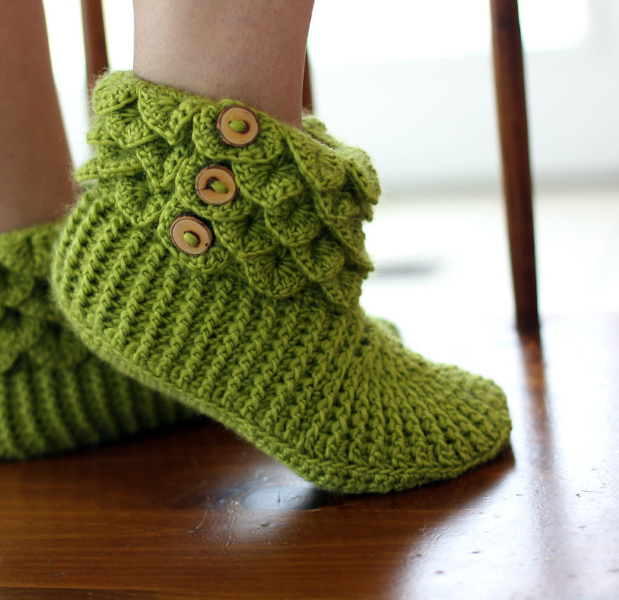 Dragon Slippers With Crochet Scales To Keep Your Toes Warm Because