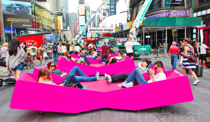 X- Shaped Loungers In Times Square, Nyc