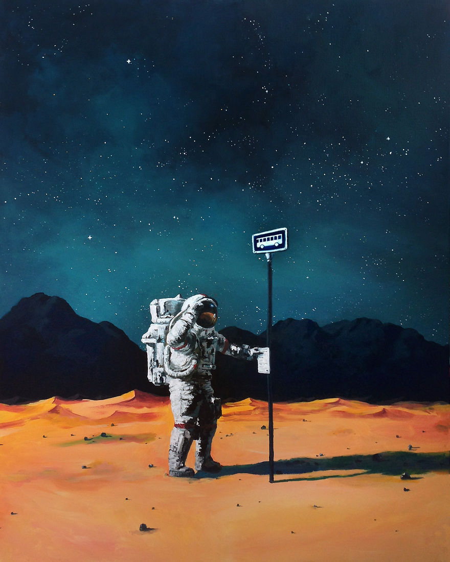 I Paint Astronauts, Flying Fruits And Bus Stops Set In The Danish Wilderness