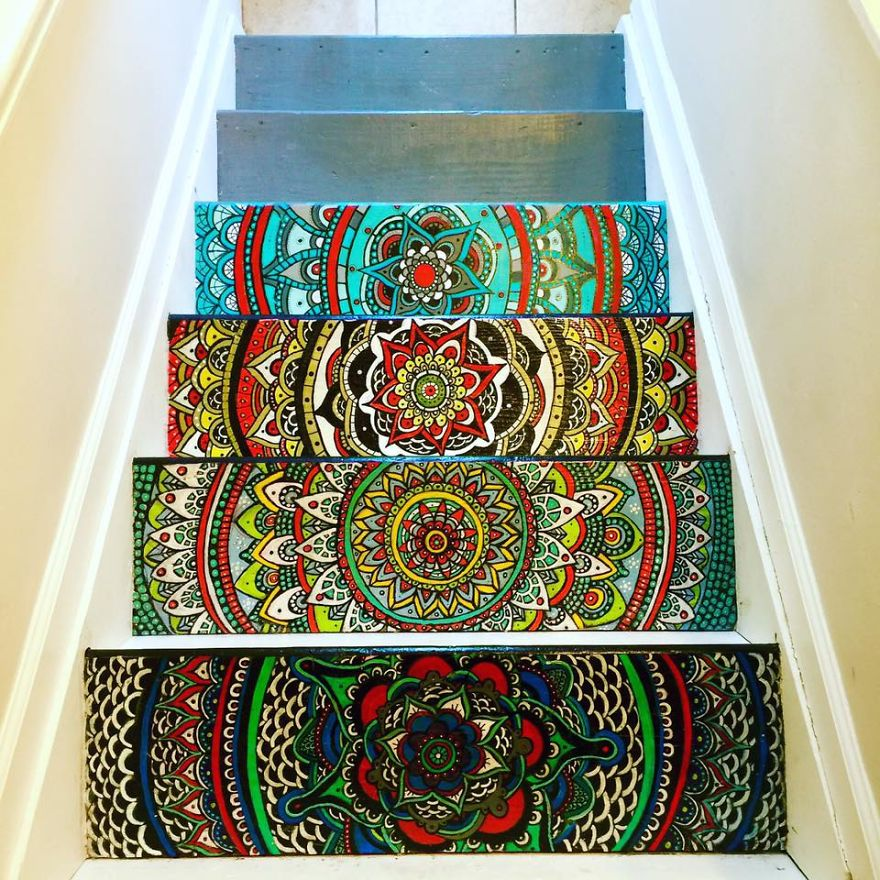 i turned my boring stairs into a colorful mandala bored
