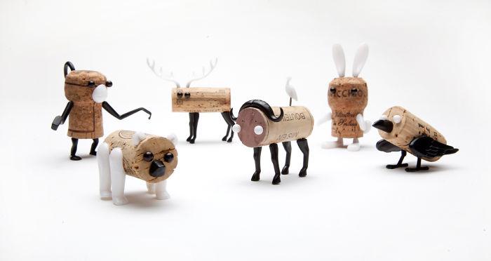 The Corkers: Pushpins Transform Any Wine Cork Into A Joyful Figurine