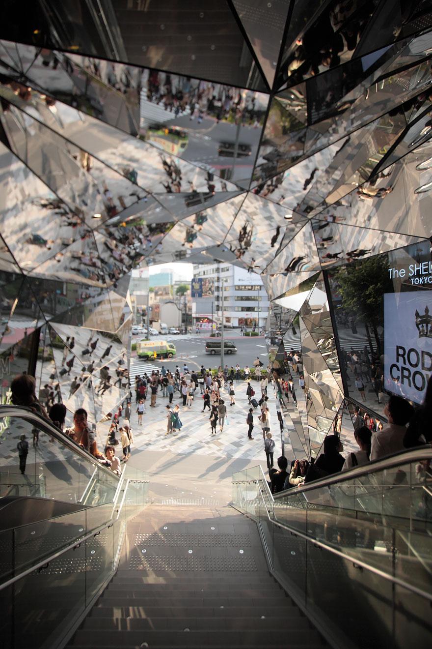 Mirrored Entrance To 'Tokyu Plaza Omotesando Harajuku' Shopping Complex In Tokyo, Japan