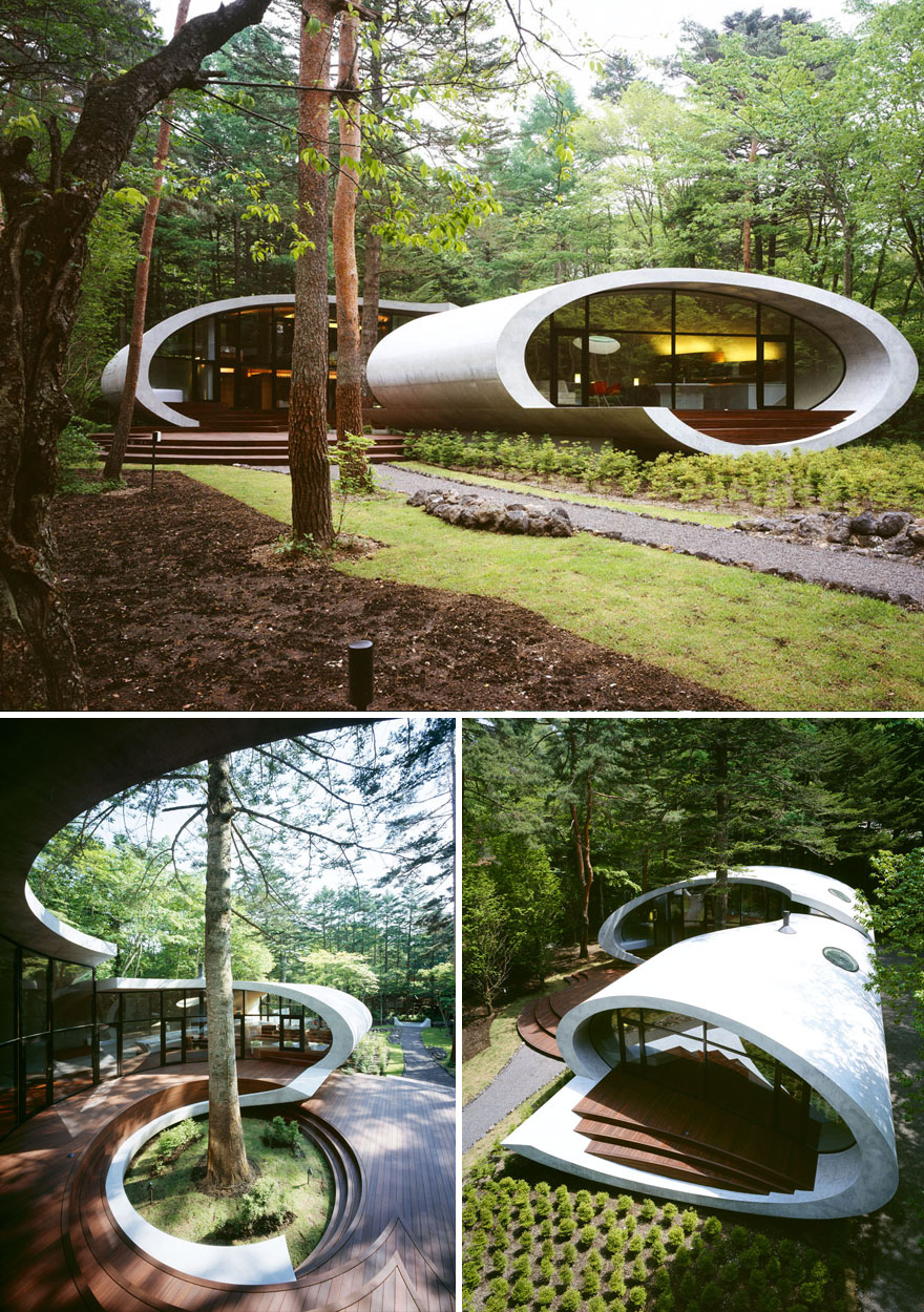A Large Shell Shaped Structure In The Middle Of The Woods In Kitasaku District