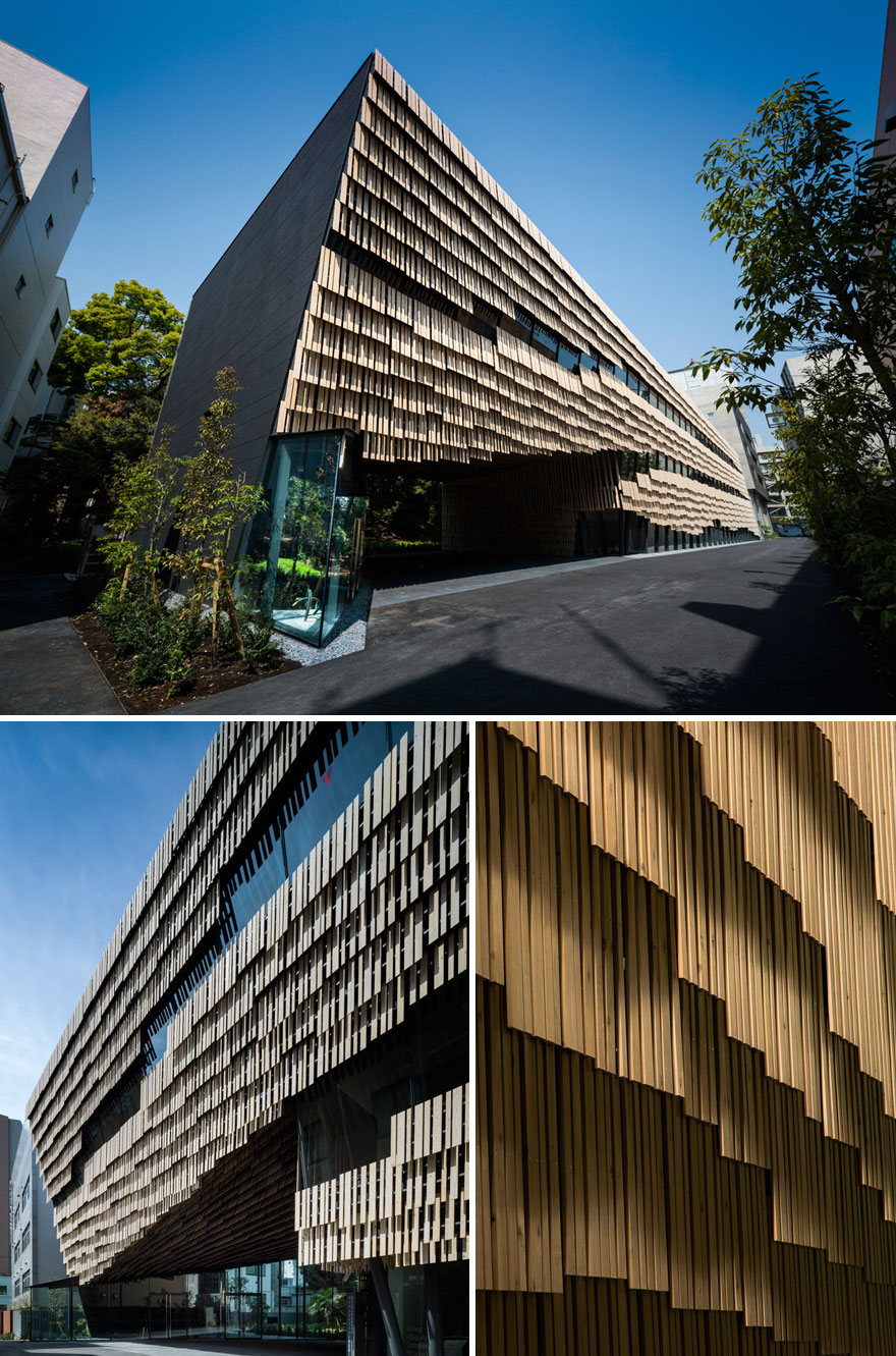 Part Of The University Of Tokyo's Campus Building With Layered Timber Slats
