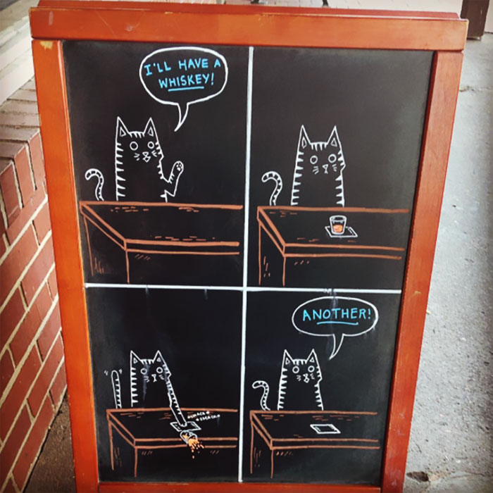 Woman Helped Friend's Bar By Drawing Chalk Signs, The Result Was So Good It Increased The Sales