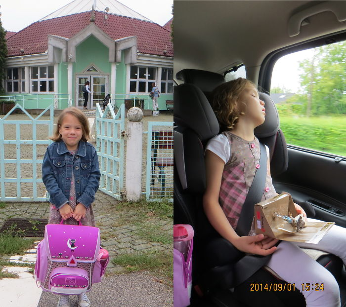 Letti's First Schoolday - Before&after