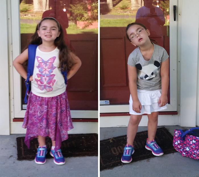 Веселі фотографії дітей до і після їх першого дня в школі - 9