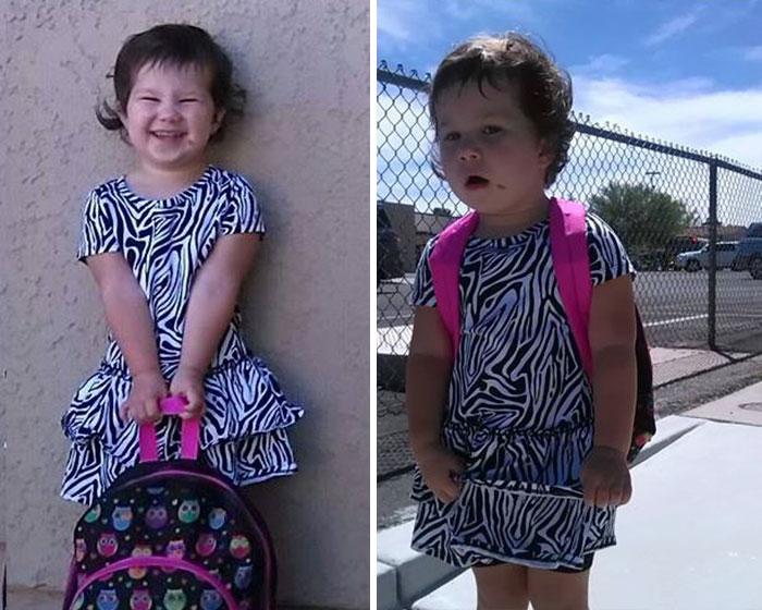 Веселі фотографії дітей до і після їх першого дня в школі - 4
