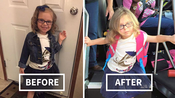 5+ Hilarious Pics Of Kids Before & After Their First Day Of School