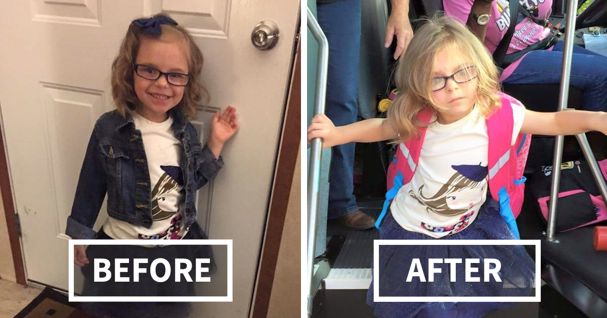 27 Hilarious Pics Of Kids Before Amp After Their First Day