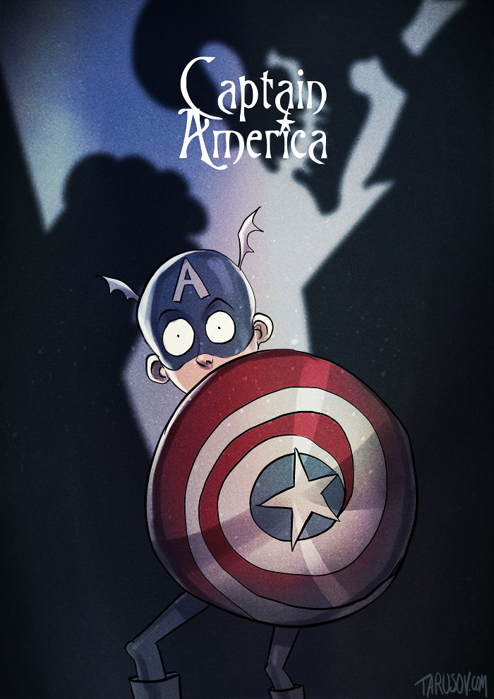 Superheroes In Tim Burton's Style