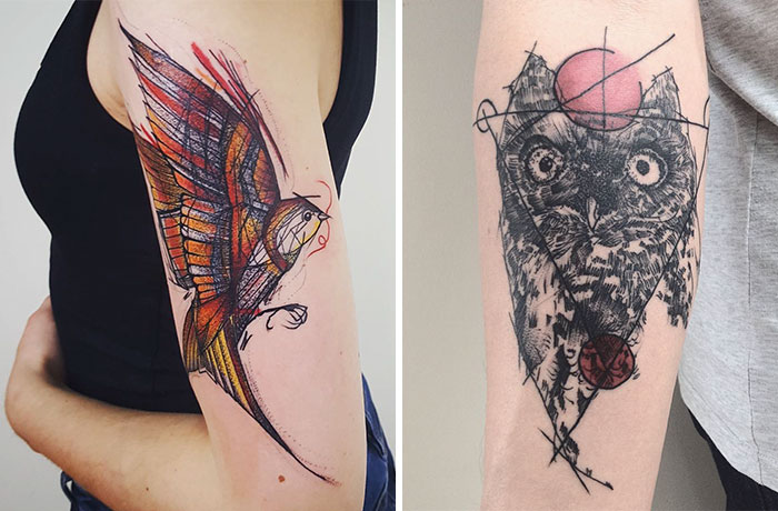 Colorful And Sketchy Tattoos By Vesna