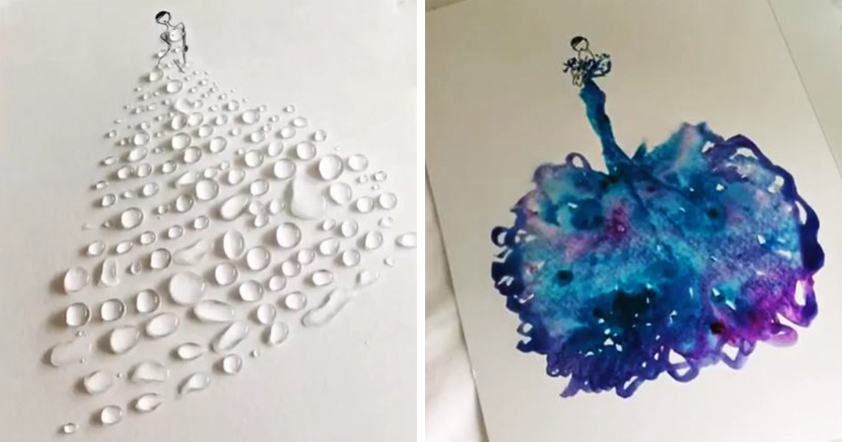 artist uses water drops and paint to create spontaneous dress