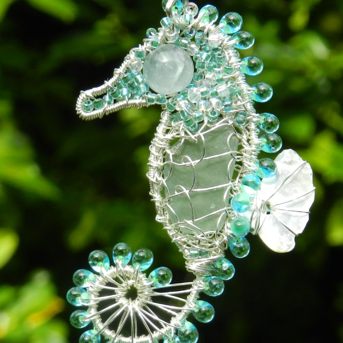 I Make Seahorses Out Of Wire And Beach Glass